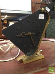Sale 8412 - Lot 1026 - Brass and Black Enamel Mid Century Clock by NUFA