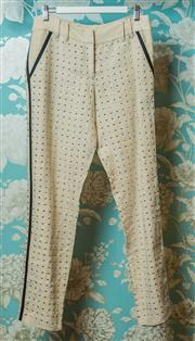 Sale 8420A - Lot 17 - A Sass & Bide silver studded tailored womens 100% linen trousers, size: 10, condition: as new