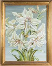 Sale 8575J - Lot 48 - M. Gillespie - Lilies oil on canvas