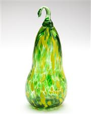 Sale 8517A - Lot 36 - A Mexican handblown glass green gourd with yellow marks, H 20cm