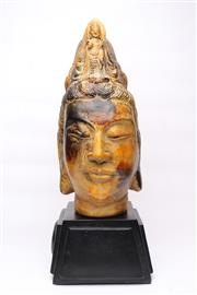Sale 8706 - Lot 66 - Ceramic Buddha Head on Base ( H 43cm, Stand H 13cm)