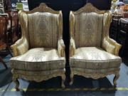 Sale 8760 - Lot 1053 - Pair of Over Sized Gilt Armchairs