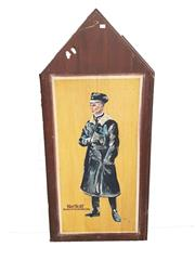 Sale 8809B - Lot 605 - Kirt Wolff. Fighter Pilot Ace & Member of Richthofens Jasta. Hand Painted Double Sided Wall Plaque. L.M 74 (126 x 57cm)
