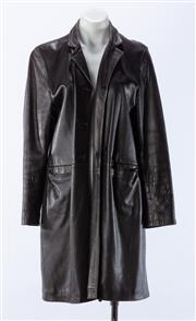 Sale 8910F - Lot 84 - A chocolate brown leather coat, size 10