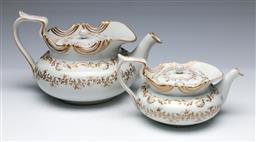 Sale 9093P - Lot 77 - Large C19th Bohemain Porcelain Teapot and a Smaller Example, h. 15 & 10cm.