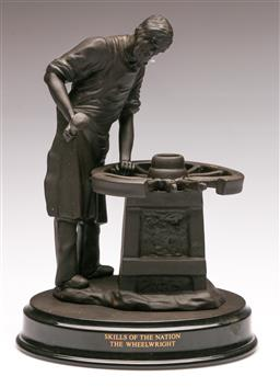 Sale 9122 - Lot 91 - Wedgwood Basalt Blacksmith Figure on Timber Base (H:14cm)