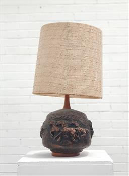 Sale 9134 - Lot 1094 - Retro brass bulbous table lamp with fabric shade (h:70cm)