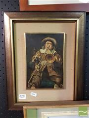 Sale 8544 - Lot 2099 - Artist Unknown Trombone Player, Oil, 21x14cm