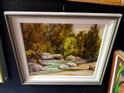 Sale 8659 - Lot 2034 - M Peryman - Fish River, Rainville, oil on board, 49 x 56cm (frame size), signed lower right