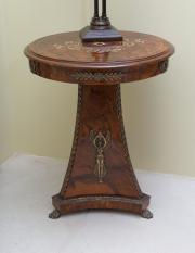 Sale 8677B - Lot 563 - An empire style walnut tripod occasional table with ormolu Grecian figures on paw feet H x 81cm, D x 47cm
