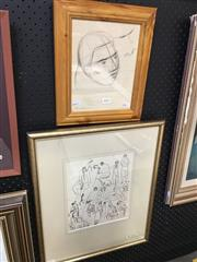 Sale 8671 - Lot 2015 - Group of (3) Bill Coleman ink drawings (framed and various sizes) -