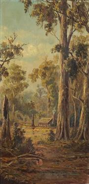 Sale 8738 - Lot 571 - Alfred William Forsythe (Colonial School) - Pioneers Hut, Megalong Valley 1890 60 x 30cm
