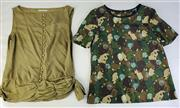 Sale 8910F - Lot 94 - A Marc by Marc Jacobs printed silk top, size 8 together with a khaki silk example by Scanlan&Theodore, size 10