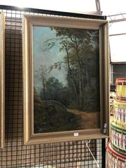 Sale 8903 - Lot 2026 - Artist Unknown (C18th/C19th) Two Figures Exploring the Woodlands oil on canvas, 70.5 x 50.5cm (frame), signed lower right