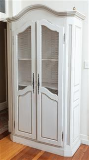 Sale 8990H - Lot 93 - A French shabby chic armoir/kitchen cabinet with chicken wire panelled doors, opening to reveal three interior shelves, Height 220cm...