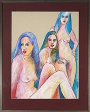 Sale 9045 - Lot 2015 - Brigitte Suzanne Leveaux - Three Graces 82 x 63 cm (frame: 105 x 85 x 2 cm)