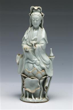 Sale 9093P - Lot 9 - C18th Blanc de Chine Figure of Guanyin, h. 23cm.