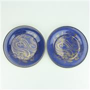 Sale 8322 - Lot 54 - Wedgwood Powder Blue Ground Gilt Dragon Pair of Cabinet Plates