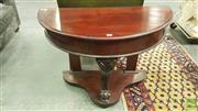 Sale 8402 - Lot 1028 - Victorian Mahogany Demi-Lune Side Table, with later hinged cedar top, on carved cabriole leg
