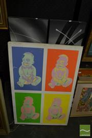 Sale 8464 - Lot 2088 - Six Paintings incl Screenprint on Stretchers