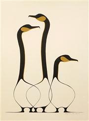 Sale 8583 - Lot 584 - Benjamin Chee Chee (1944 - 1977) - Friends, 1974 59 x 43.5cm