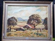 Sale 8587 - Lot 2085 - Edmund Spencer (1920 - 2014) - Canefields, Mackay, oil on canvas on board, 34 x 44cm, signed lower right