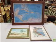 Sale 8619 - Lot 2080 - 3 Works: Artist Unknown - Rural Scene, Watercolour, SLR; Hasler-Bail - Cliff Mooring, Watercolour, SLR & Framed Map of the West Indies