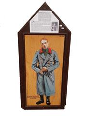 Sale 8809B - Lot 607 - Oswald Boelcke. Fighter Pilot Ace & Father of Fighter Tactics, 40 Victories. Hand Painted Double Sided Wall Plaque. B.R Moss (126 x...