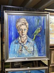 Sale 8891 - Lot 2041 - Artist Unknown - Suburban Pirate - Polly want an Auntie? oil on canvas on board, 78 x 72cm (frame), signed