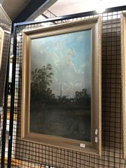 Sale 8903 - Lot 2025 - Artist Unknown (C18th/C19th) River Fishing and Distant View of Country Cathedral oil on canvas, 70.5 x 50.5cm (frame), signed lowe...