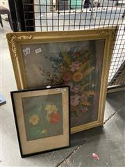 Sale 8978 - Lot 2054 - 2 Works: A Pastel Still Life together with a Still Life Decorative Print