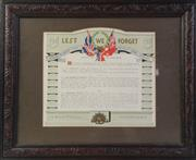 Sale 8994W - Lot 623 - Framed Lest We Forget Tribute (44cm x 54cm)