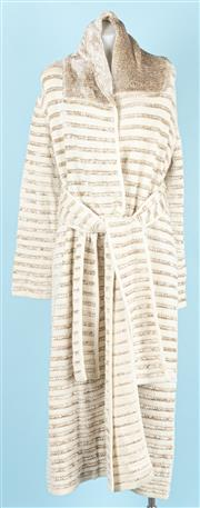 Sale 9083F - Lot 17 - A HEAVY GIORGIO ARMANI LONG KNITWARE COAT; knitted wrap style with shawl collar, silky cream and beige strip, viscose rayon, wool an...