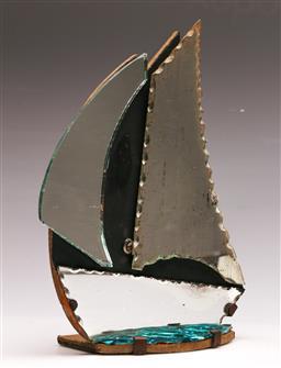 Sale 9131 - Lot 83 - Vintage ship form desk mirror (H:27.5cm) - left side mirror replaced