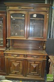 Sale 8345 - Lot 1091 - Late 19th Century French Walnut Buffet, with two glass panel doors, two drawers & two fielded panel doors (key in office)