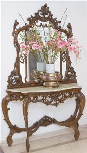 Sale 8341A - Lot 1 - An Italian carved console table with alabaster top and mirror, H 225 x W 145 x D 46cm