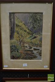Sale 8468 - Lot 2010 - C20th European School - Forest Scene with Stream 30 x 20.5cm