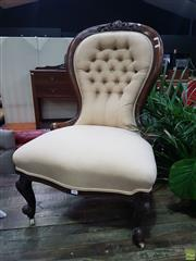 Sale 8598 - Lot 1096 - Victorian Walnut Ladys Chair, the carved balloon back with buttoned cream upholstery & cabriole legs