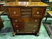 Sale 8653 - Lot 1022 - Late 19th Century Cedar Chest of Seven Drawers, with glass knobs & bun feet (2 x keys in office)