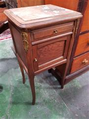 Sale 8774 - Lot 1032 - Early 20th Century French Oak Bedside Cabinet, with marble top, a drawer & panel door, on splayed legs