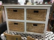 Sale 8795 - Lot 1100 - Timber and Wicker Storage Unit