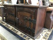 Sale 8822 - Lot 1546 - Pair of Timber and Metal Bedside Chests