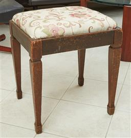 Sale 9097H - Lot 87 - A spade leg timber piano stool with upholstered seat, Height 50cm x Width 44cm