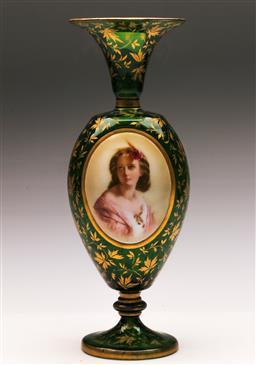 Sale 9122 - Lot 18 - Venetian Glass Vase with Handpainted Portrait H:34cm