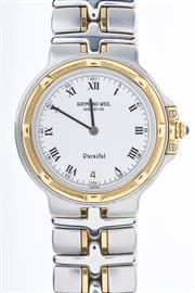 Sale 8293 - Lot 351 - A RAYMOND WEIL PARSIFAL QUARTZ WRIST WATCH; ref; 9190 with white dial, Roman numerals, date at six oclock, gold highlights on bezel...