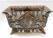 Sale 8312A - Lot 28 - An antique French cast iron garden jardinière, size 60 x 33 x 38 cm