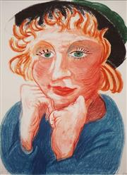 Sale 8657A - Lot 5086 - After David Hockney - Untitled (Woman in Green Hat) 49 x 35.5cm (frame: 68 x 54.5cm)
