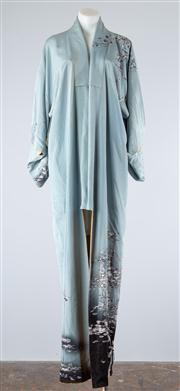 Sale 8685F - Lot 72 - A Japanese grey-blue silk kimono of abstract floral design with contrasting lining