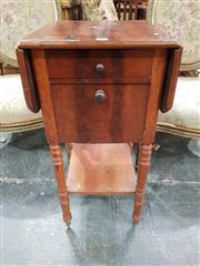 Sale 8774 - Lot 1004 - 19th Century Mahogany Bedside Cabinet, with drop leaves, a drawer, fall front & open shelf on turned legs