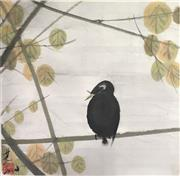 Sale 8784 - Lot 2014 - Chinese Ink and Watercolour of a Chinese Blackbird, 47.5 x 47.5cm